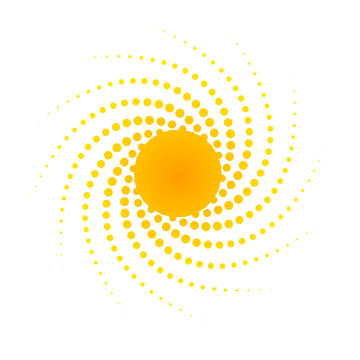 Orange abstract banner Element for design in the form of the sun with dotted spiral rays halftone dots Decorative isolated symbol of summer and spring Creative design Advertising logo sun Vector art