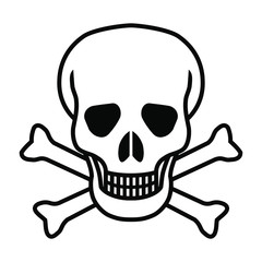 Mortal symbol skull and bones isolated on white background. Abstract sign vector illustration