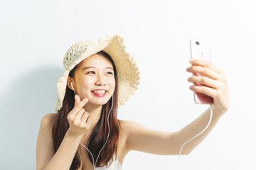 young woman smile take selfie