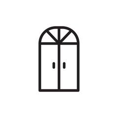 arc door, entrance outline vector icon