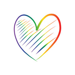LGBT heart drawing vector in rainbow color