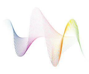 Abstract smooth curved lines from dots halftone rainbow Design element Technological background with a line in the waveform Stylization of a soundwave Smooth wavy lines for design technology Vector