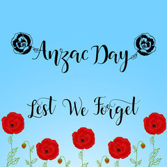 Lest we forget lettering. Anzac day lettering. vector illustration
