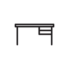 working desk, work desk outline vector icon