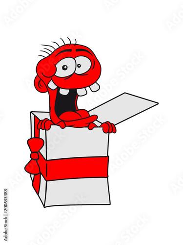 Versteckt Geschenk Kiste Paket Geburtstag Lachen Gesicht Verruckt