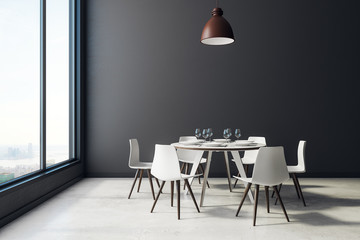 Black dining room interior