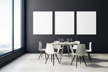 Dining room with blank poster