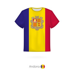 T-shirt design with flag of Andorra.