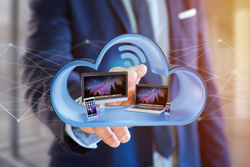 Devices like smartphone, tablet or computer displayed in a cloud- 3d render