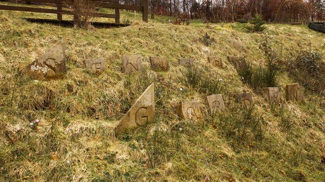 Engraved stones at  the Scents and Sensitivities Sensory Garden at Auchinstarry, near Kilsyth, Scotland.
