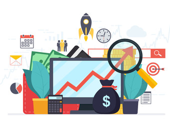 Analysis web analytics and business development statistics. Modern concept of business strategy, search information, digital marketing, investment management.