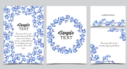 Vector illustration blue flowers on background. Branch of blue forget-me-not flowers. Set of greeting cards
