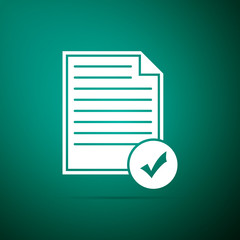 Document and check mark icon isolated on green background. Checklist icon. Business concept. Flat design. Vector Illustration