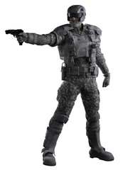 Futuristic Marine Ranger in Urban Camouflage, Aiming Gun - science fiction illustration