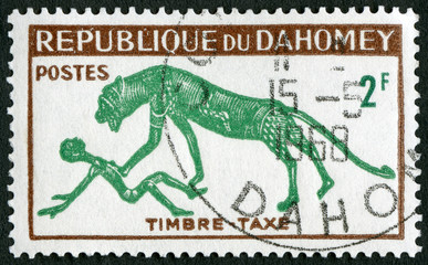 DAHOMEY - 1963: shows Panther and Man