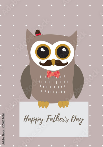 owl happy father s day in brown with black white and gold metallic