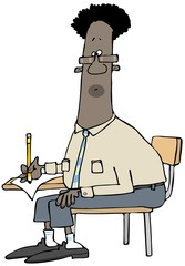 Illustration of a black man sitting at a student desk taking a test.