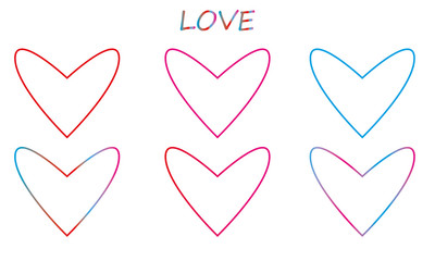Linear multicolored hearts with the inscription love . Symbol of love