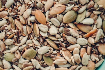 background of various seeds and nuts