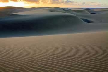 Rippled and smooth sand of dunes of Maspalomas in Gran Canaria.