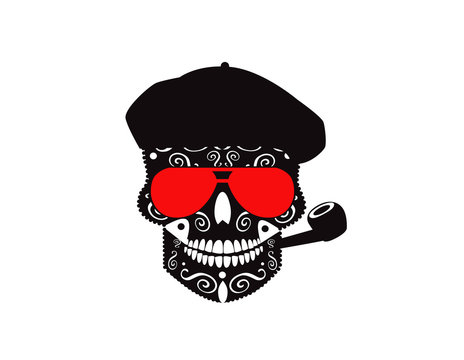 Cool skull icon with sunglasses, hat and pipe smoking