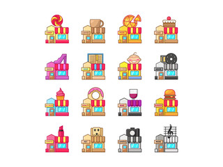 set of Icon Shop Illustration Filled Line
