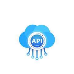 API, application programming interface, cloud software vector illustration