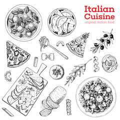 Italian cuisine hand drawn set. Vintage vector illustration. Italian food sketch collection. Pasta, pizza and ravioli illustration. Engraving image.