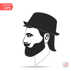 Vector profile view of sad bearded man wearing hat. Illustration