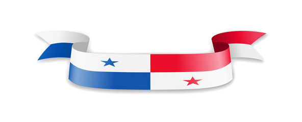 Panama flag in the form of wave ribbon.