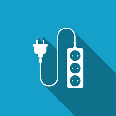 Electric extension cord icon isolated with long shadow. Power plug socket. Flat design. Vector Illustration