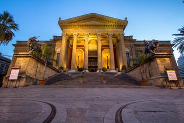Massimo theater Palermo at twilight