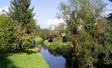 Schmoelln / Germany: Idyllic scenery along the little river Sprotte in Grossstoebnitz
