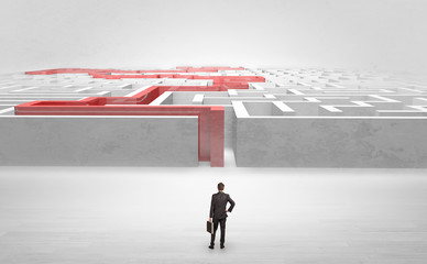 Businessman getting ready to enter the labyrinth with stated road concept
