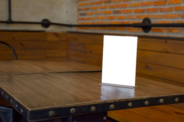 Table tent on wooden table