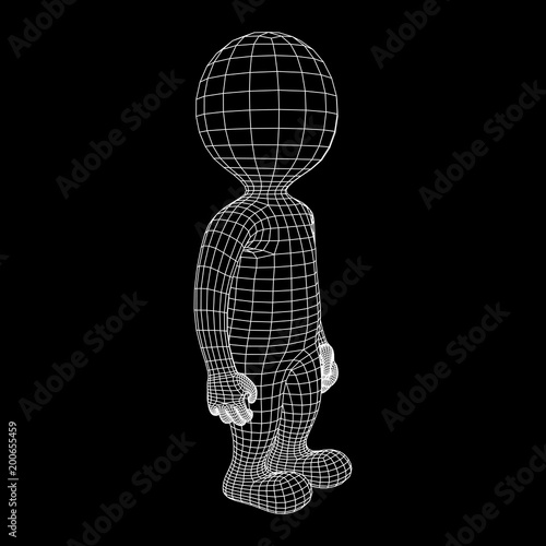 Wireframe low poly mesh human cartoon body in virtual reality