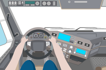 Driver in the cab of the truck on white background. Vector illustration