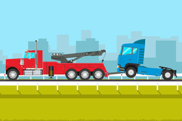The rescue truck pulls in the service of a broken car. Vector illustration