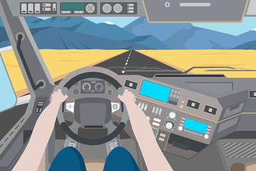 The driver is driving through the desert on a truck. Desert view from the cab of the truck. Vector illustration