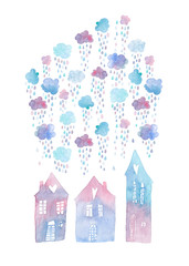 Colorful hand painted greeting card with watercolor houses and rainy clouds above them. Isolated on white background.