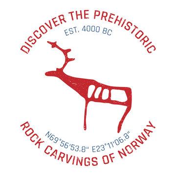 """Vintage grunge badge (""""rock carvings of alta, norway"""")"""