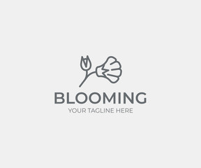 Flower logo template. Abstract flower with flower bud vector design. Elegant floral logotype