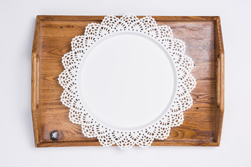 Metal and Wooden Serving Trays Flat Lay Top View