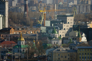 Kiev business and industry city landscape on river, bridge, and buildings