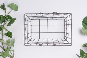 Metal Basket with less Branches Flat Lay Top View