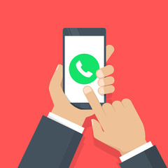 Wall Mural - Phone call button on smartphone screen vector illustration. Answer the call. Hand holding smartphone, finger touching screen. Modern concept for web banners, web sites, infographics. Flat design.