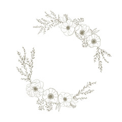 Flower wreath with anemones, twigs and leaves vector.Template fo