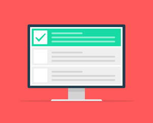 Checklist browser window. Check mark. White tick on monitor screen. Choice, survey concepts. Elements for web banners, websites, infographics. Flat design, vector illustration on background.