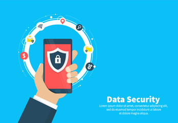 Wall Mural - Data security flat illustration concept. Smartphone with shield and lock. Flat cartoon design, vector illustration on background.