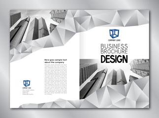 Business brochure template - modern office buildings/ skyscrapers.